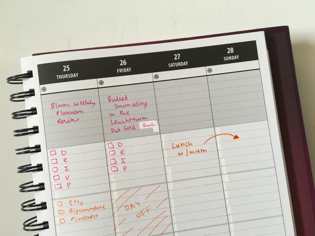 lucky life tools weekly planner review projects color coding lined blog cleaning business habits goals focus