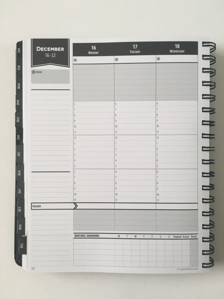 lucky life tools weekly planner review pros and cons 2 page vertical hourly weekly spread monday start categories habit tracker