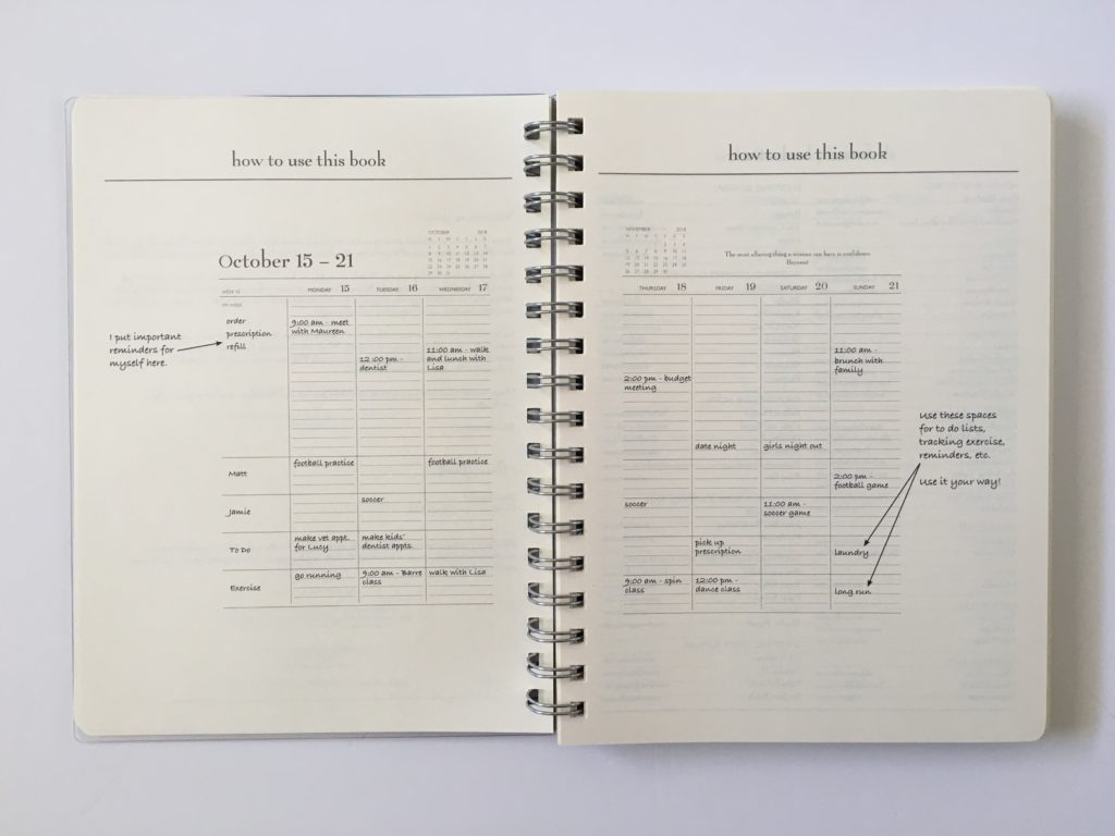 mom agenda planner review weekly categories family layout lined writing space example how to use spread layout