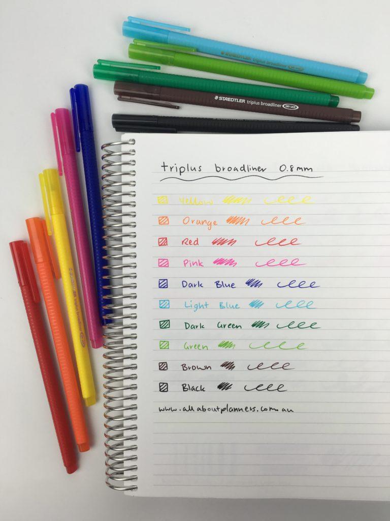 staedtler triplus broadliner pen testing ghosting bleed through rainbow color coding fine tip pens
