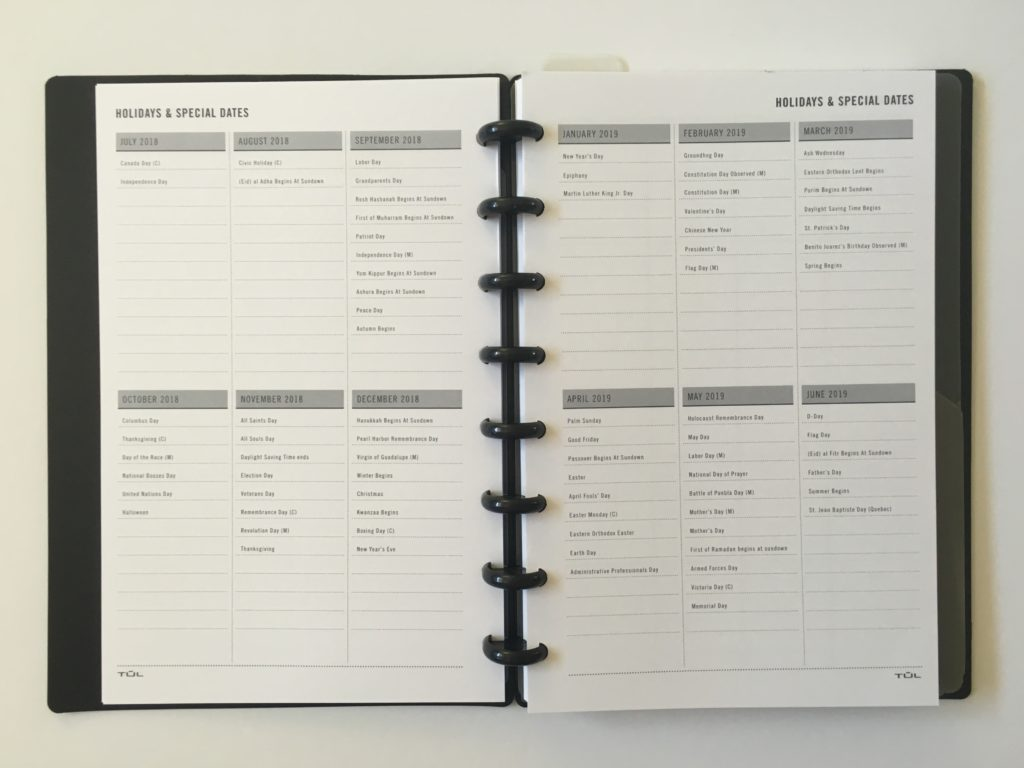 tul planner review holidays special dates annual overview discbound notebook a5 half letter size