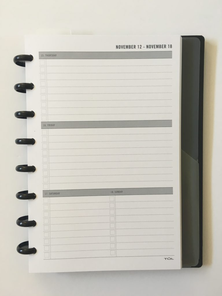 tul student planner horizontal weekly lined saturday and sunday combined checklist discbound planner gender neutral planners for pen