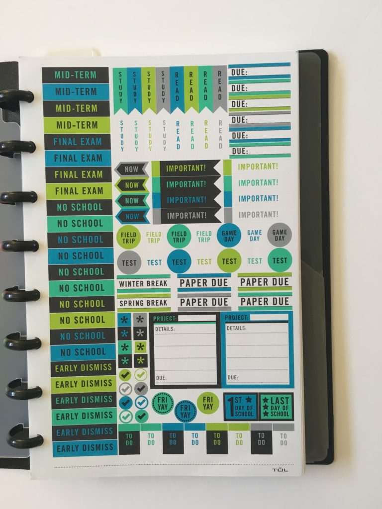 tul student planner stickers gender neutral male blue reminder don't forget exam no school mid term assignment paper
