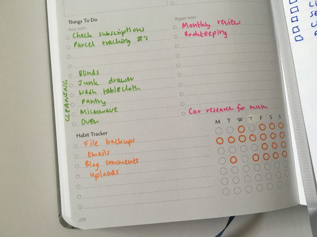 unbound weekly planner habit tracker rainbow color coding minimalist