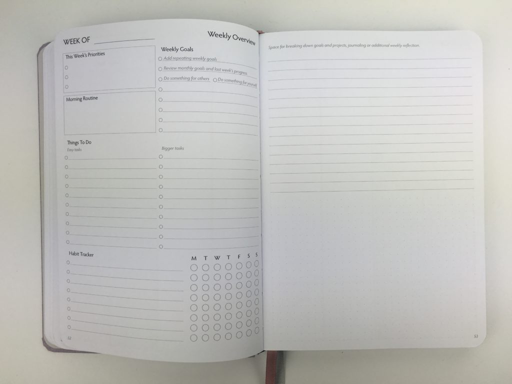 unbound weekly planner review vertical monday start minimalist weekly overview and reflection habit tracker bright white paper hardbound pros and cons video