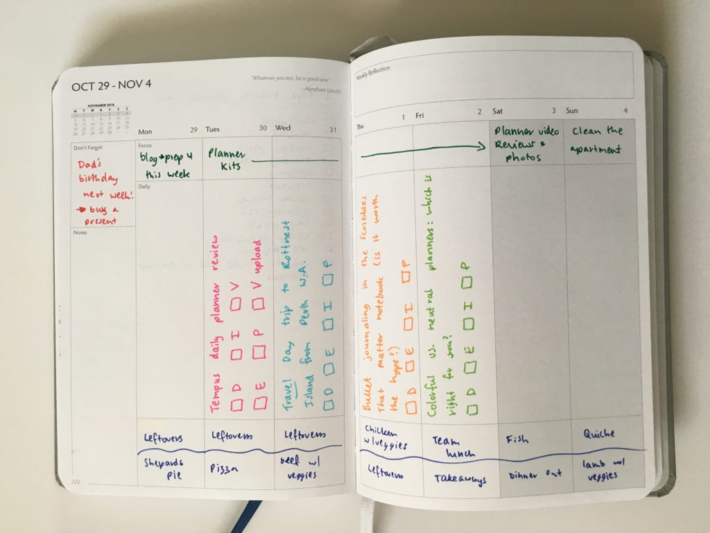 unbound weekly planner spread vertical pros and cons color coding rainbow
