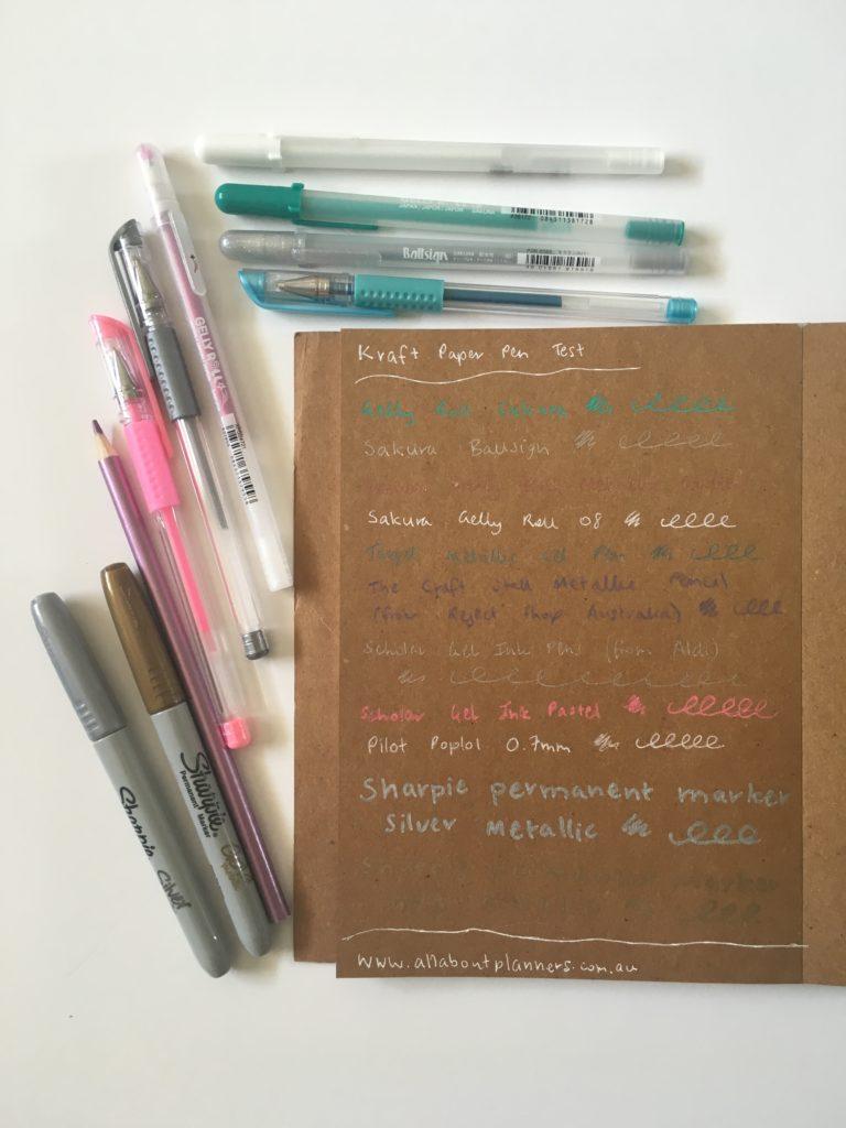 which pens write best on kraft paper brown cardstock neon sharpie pen white gel pens sakura gelly roll pen testing bullet journal