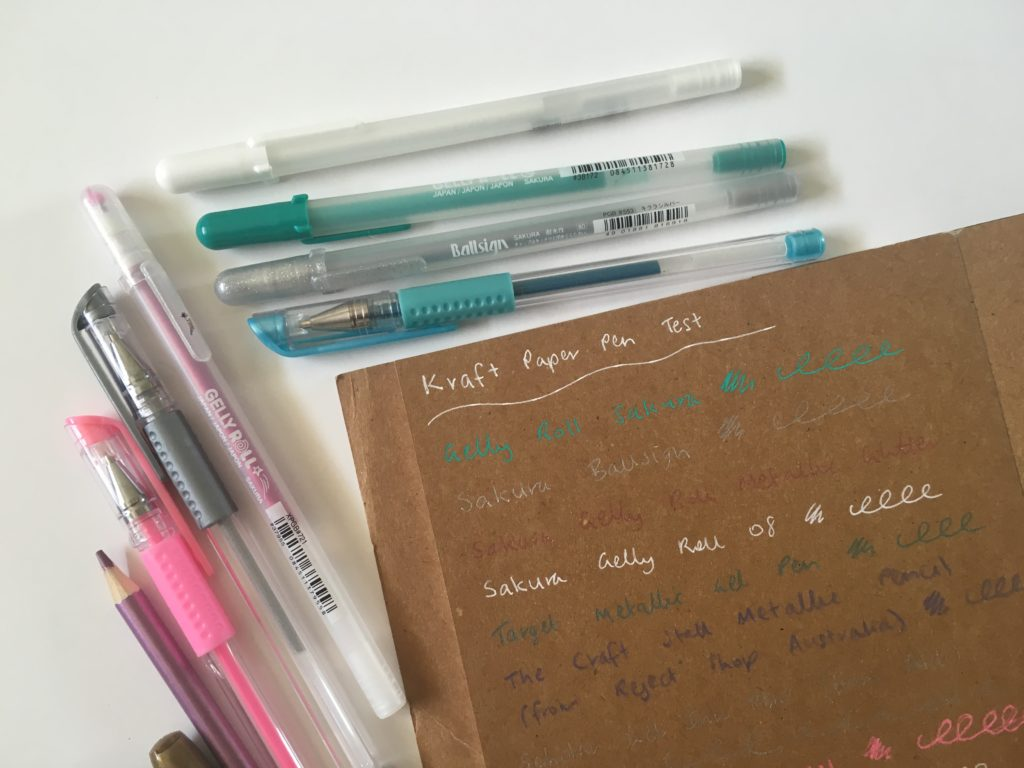 which pens write best on kraft paper brown cardstock neon sharpie pen white gel pens sakura gelly roll pen testing bullet journal marker