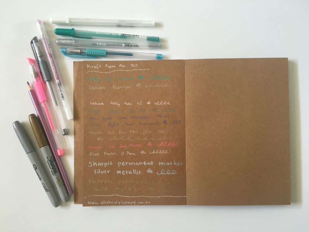 which pens write best on kraft paper brown cardstock neon sharpie pen white gel pens sakura gelly roll pen testing bullet journal planning supplies