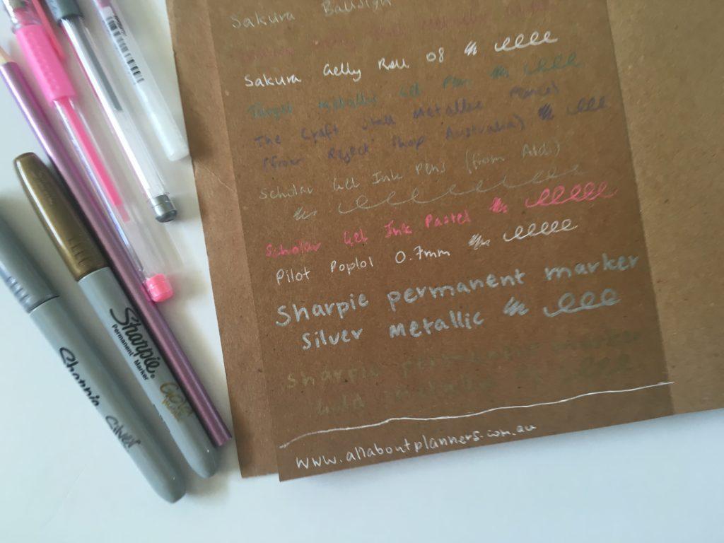 which pens write best on kraft paper brown cardstock neon sharpie pen white gel pens sakura gelly roll pen testing bullet journal review