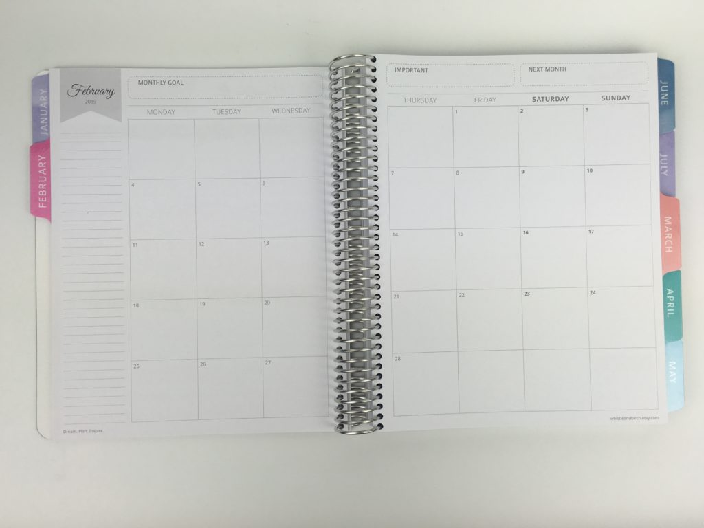 whistle and birch monthly calendar monday start minimalist similar to erin condren plum paper purple trail colorful functional