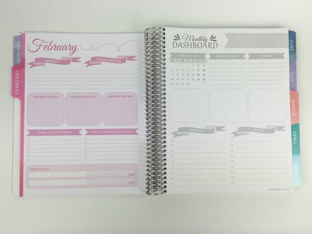 whistle and birch monthly planner dashboard birthdays events goals habit tracker similar to erin condren plum paper australian