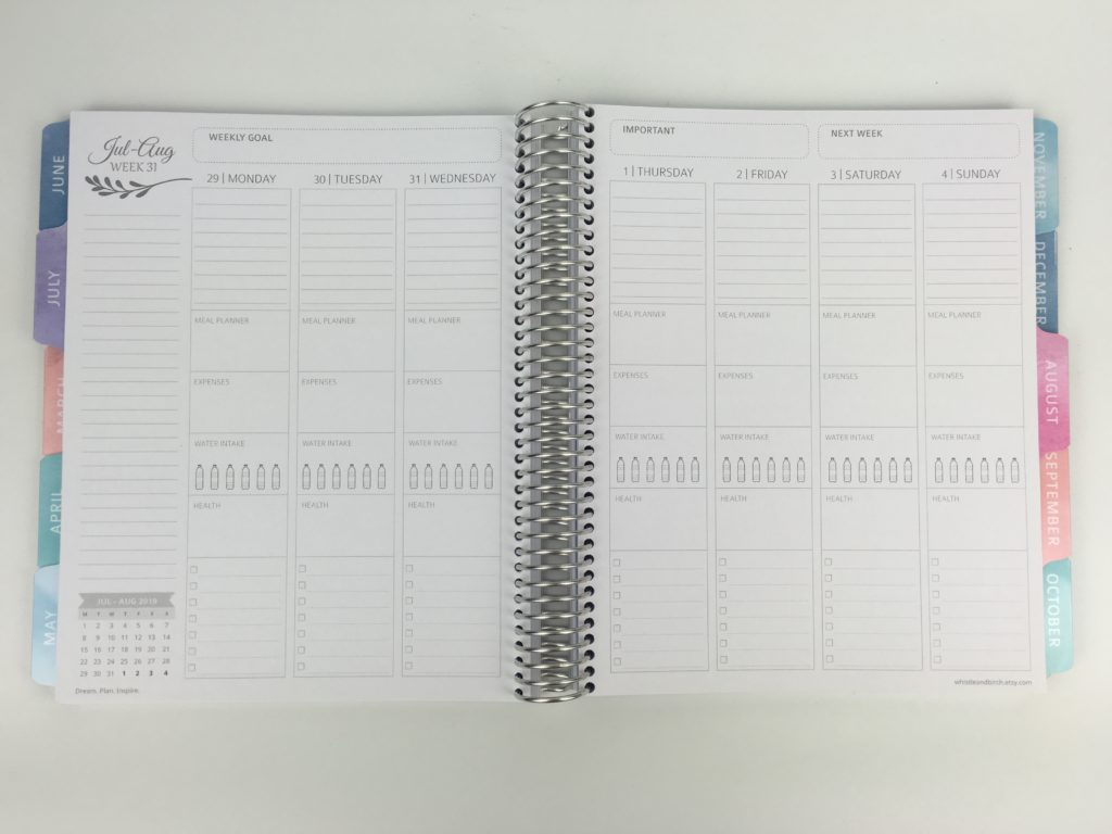 whistle and birch weekly planner review family layout monday start pros and cons vertical health exercise fitness hydrate checklist similar alternative to erin condren australia