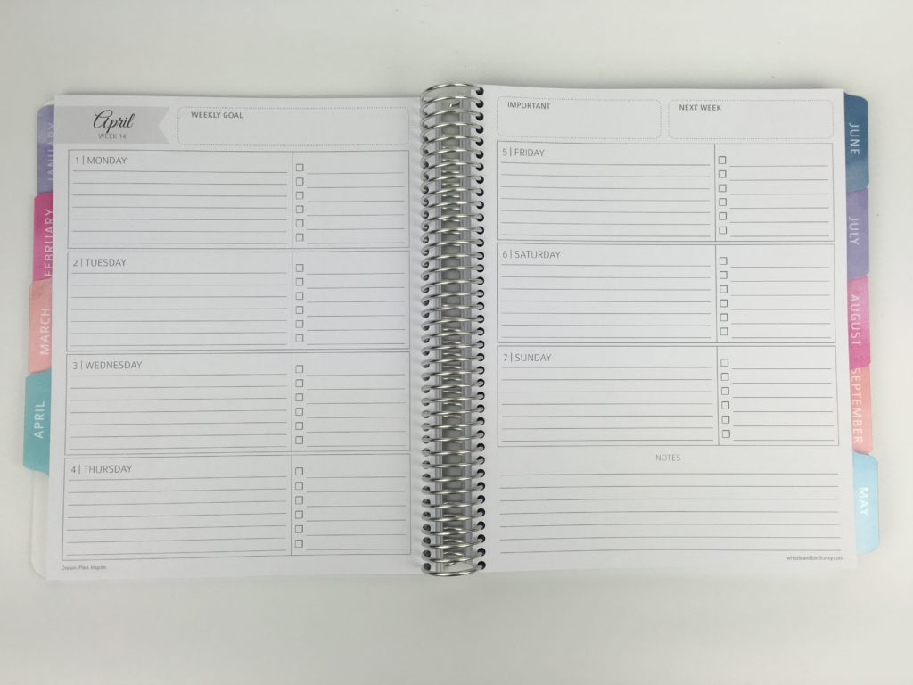 whistle and birch weekly planner review horizontal monday start lined checklist weekly notes pros and cons similar to erin condren video quality custom personalised