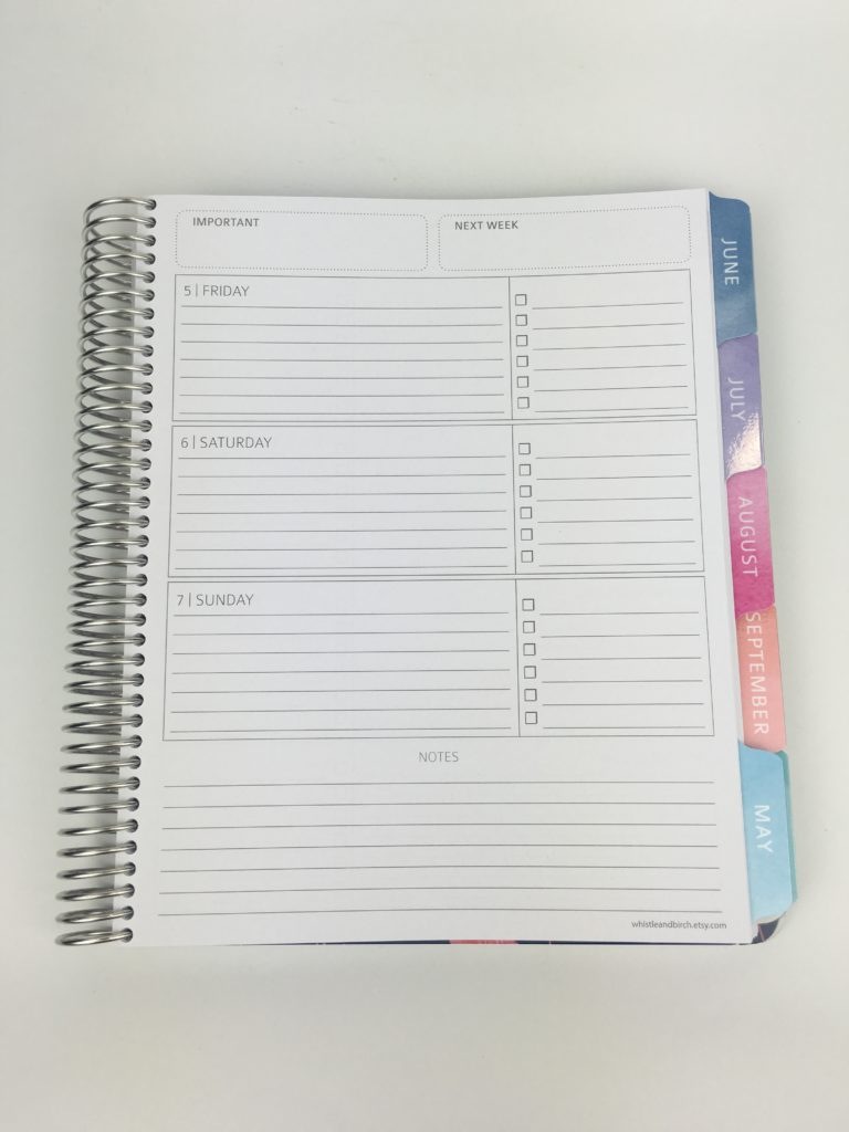 whistle and birch weekly planner review horizontal monday start lined checklist weekly notes pros and cons similar to erin condren video quality custom personalised student