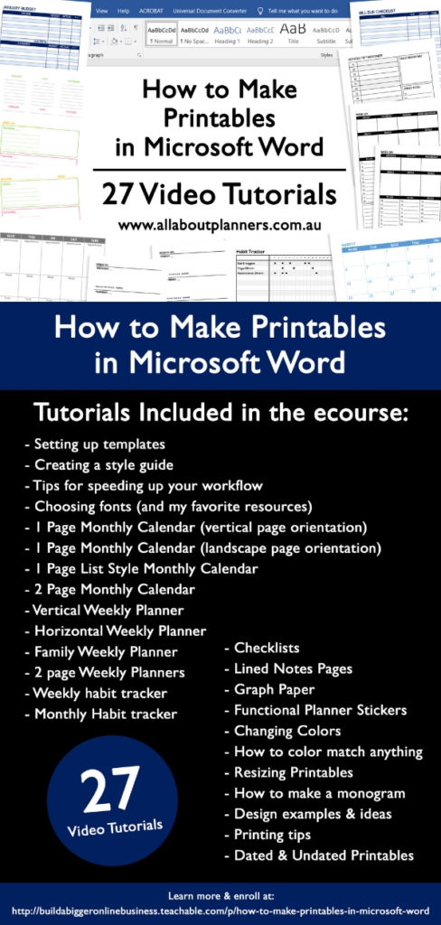 how to make printables in microsoft word ecourse tutorials weekly monthly daily habit tracker checklist a5 us letter custom diy