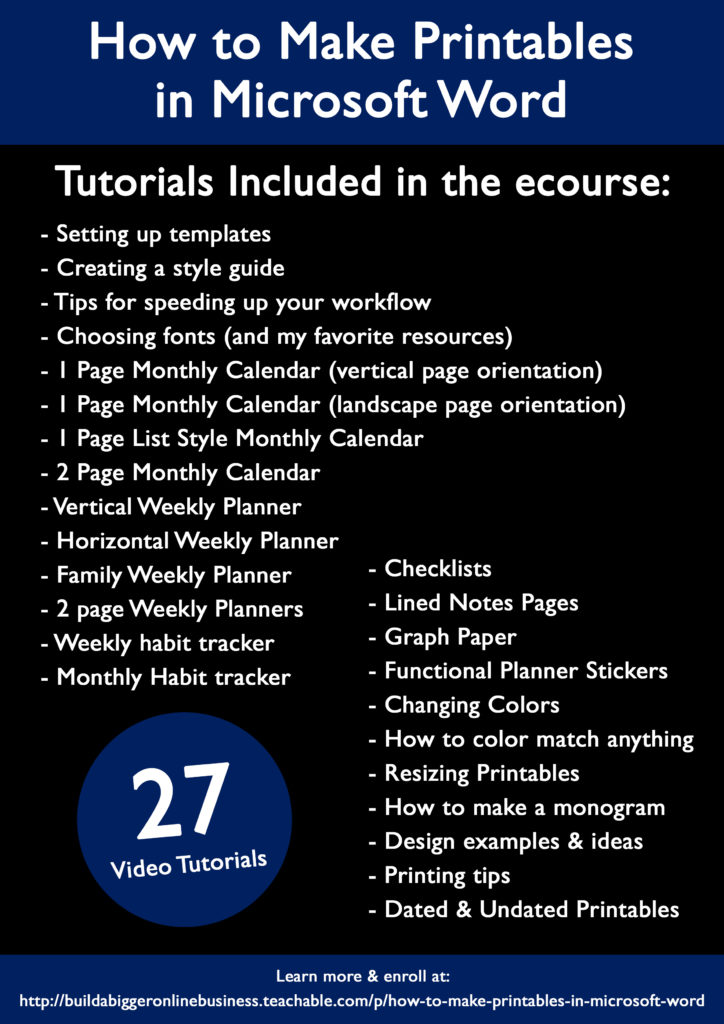 how to make printables in photoshop ecourse included tutorials weekly monthly daily habit tracker