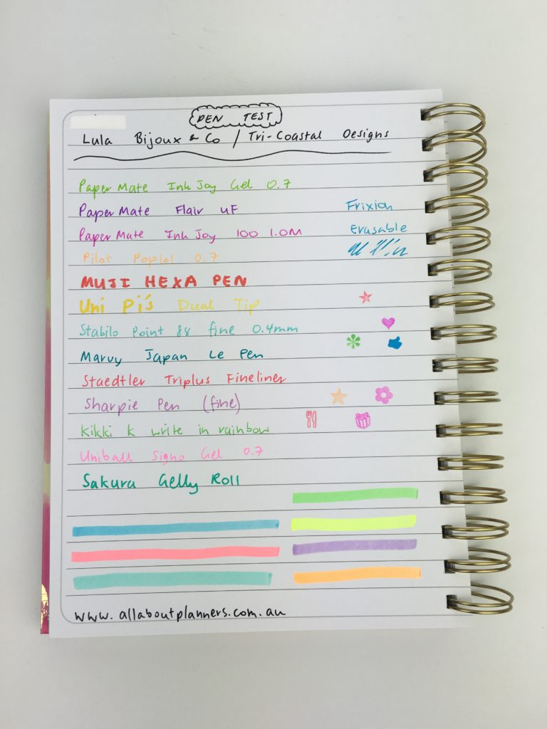 lula bijoux co tri-coastal designs planner pen testing horizontal