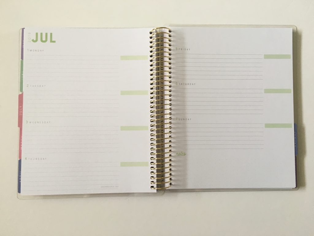 recollections horizontal weekly planner review pros and cons monday week start minimalist functional