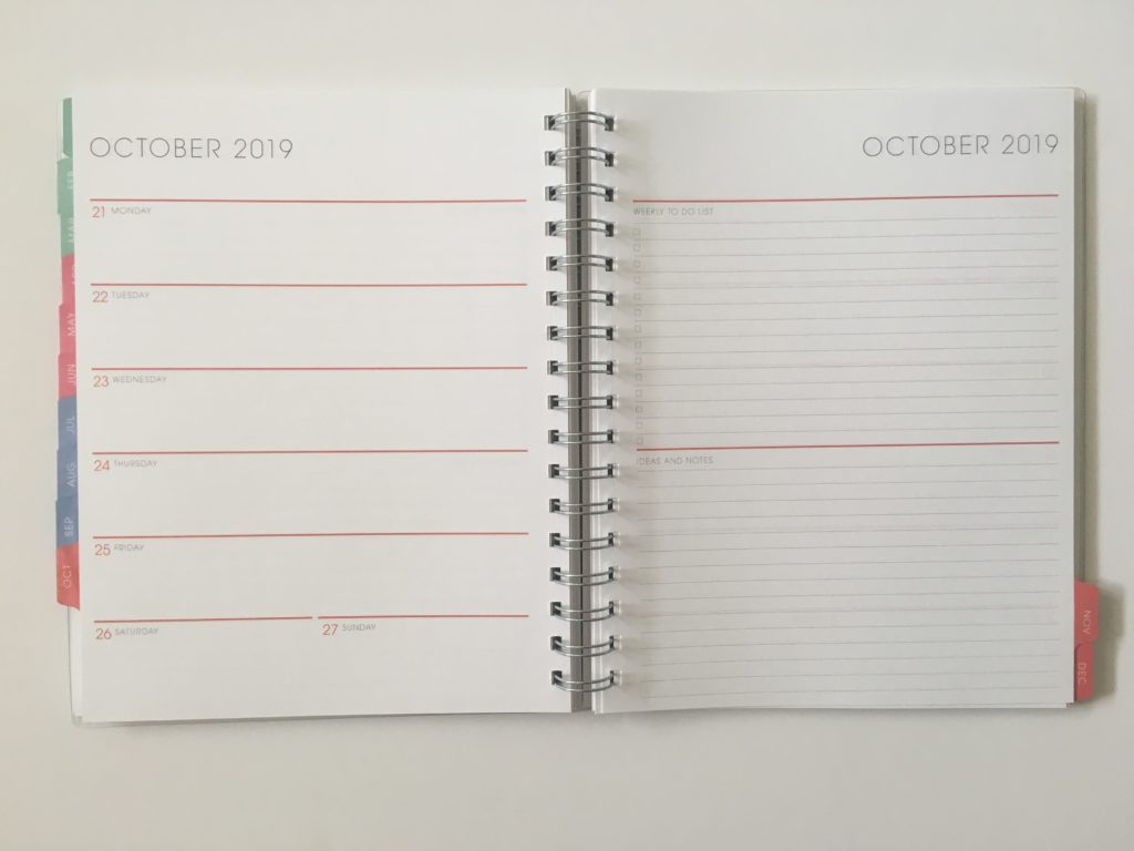blue sky weekly planner review horizontal lined with notes checklist custom personalised pros and cons