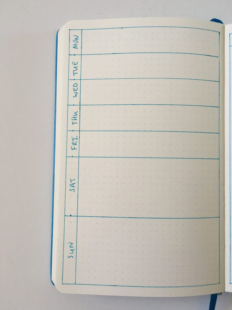 bujo 1 page weekly planner pros and cons monday week start simple minimalist