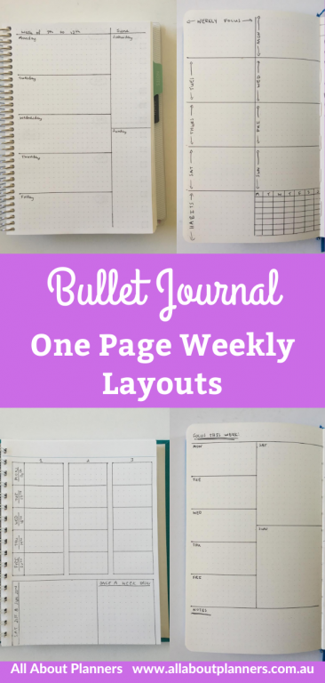 bullet journal 1 page weekly layouts inspiration ideas simple minimalist quick easy horizontal all about planners bujo newbie