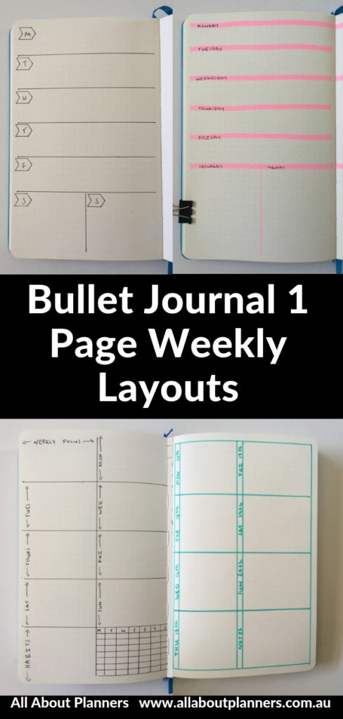 bullet journal 1 page weekly spread layout ideas monday start pros and cons inspiration diy