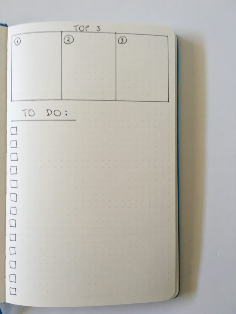 bullet journal list layout organized top 3 checklist to do inspiration diy spread ideas weekly