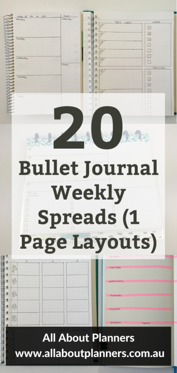 bullet journal weekly spread 1 page layout simple quick easy minimalist ideas inspiration functional all about planners