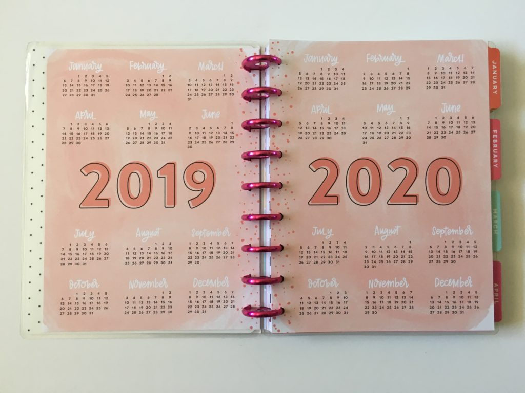 happy planner mambi 2019 2020 calendar dates at a glance video review flipthrough pros and cons