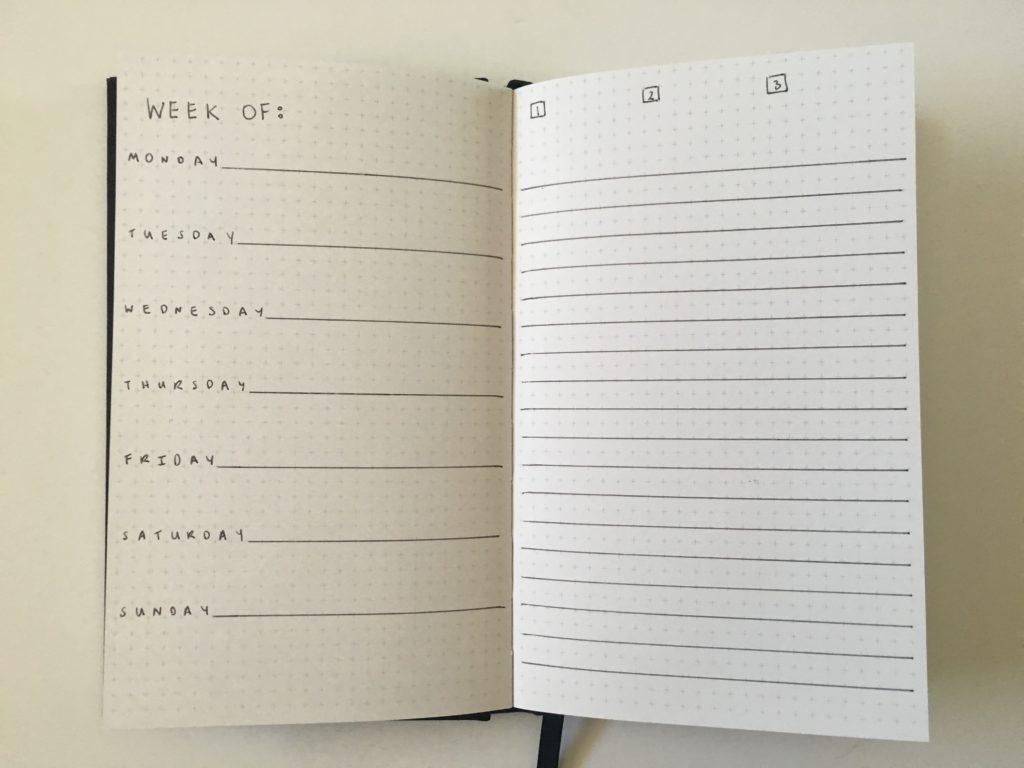 kikki k grid journal page layout 1 page per week horizontal monday start checklist lined simple minimalist