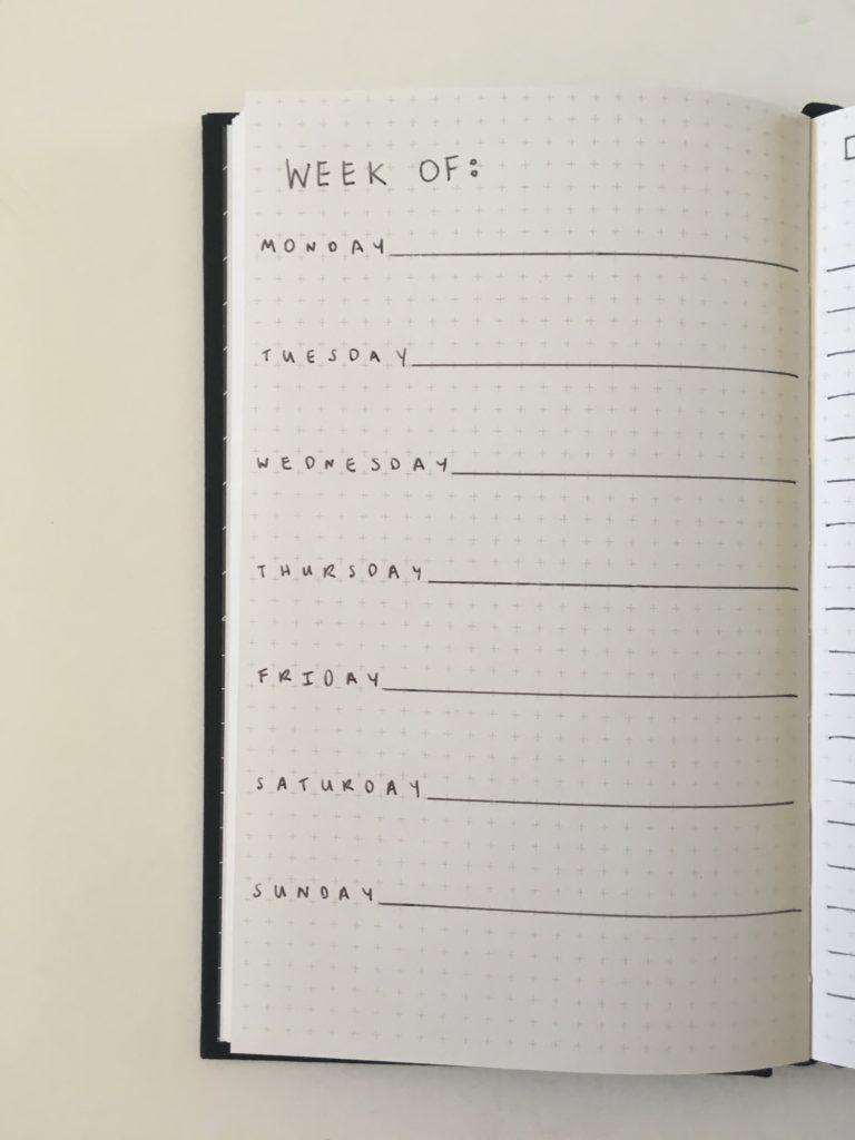 kikki k grid journal page layout 1 page per week horizontal monday start checklist lined simple minimalist bujo