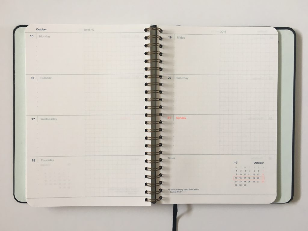 mossery weekly planner review horizontal layout monday start graph paper a5 page size pros and cons