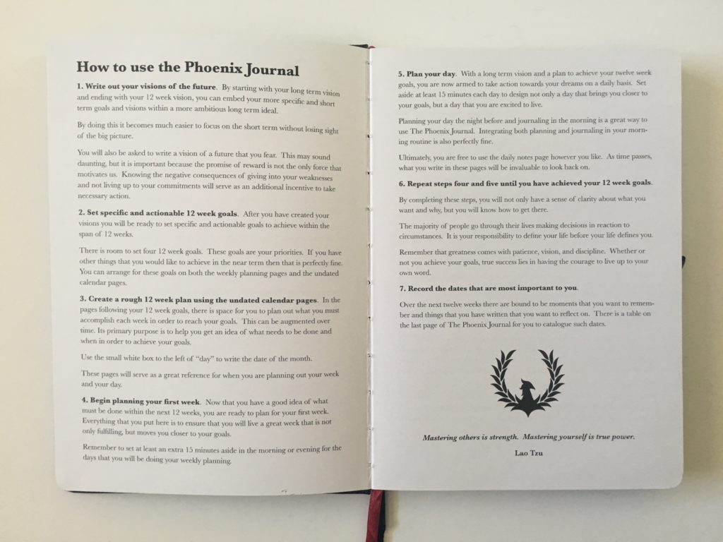 phoenix journal planner how it works