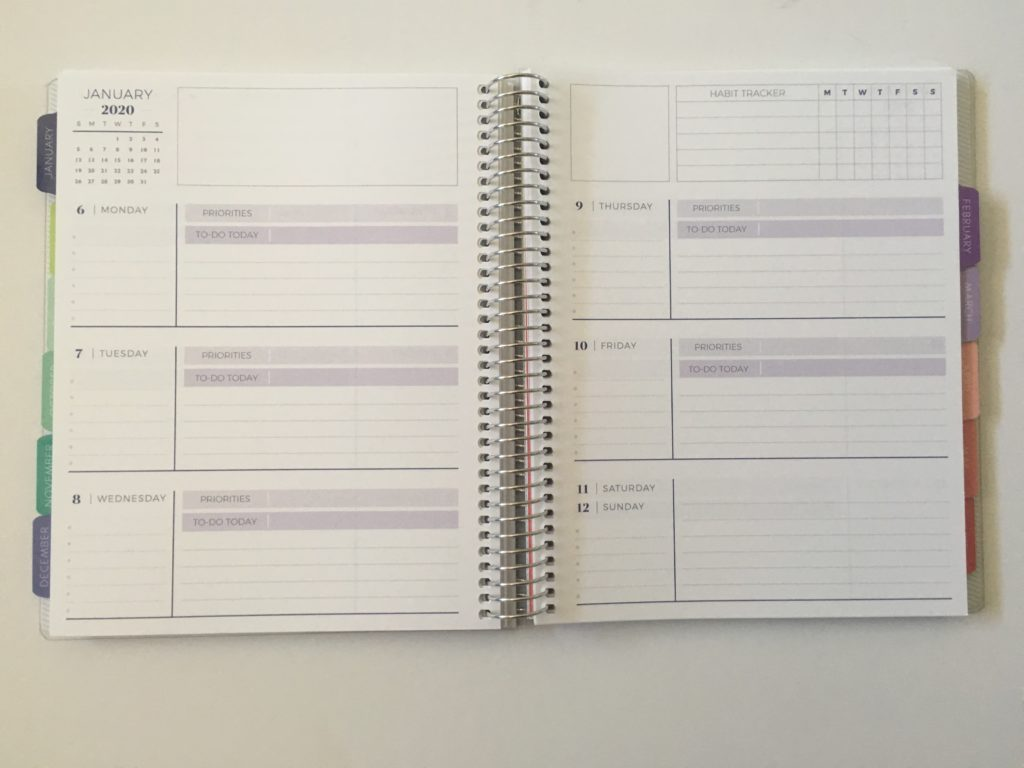 plum paper horizontal notes priorities weekly spread school work blog home personal life 2 pages per week combined weekends