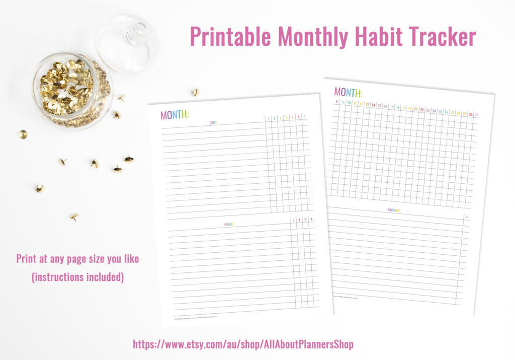 printable monthly habit tracker 2 pages daily cleaning weekly monthly rainbow