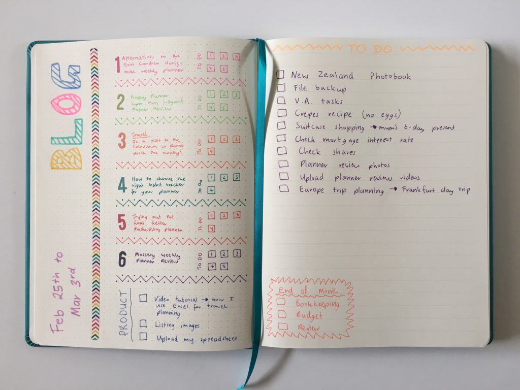 Bullet journaling in the Siwengde notebook (quick rainbow spread)