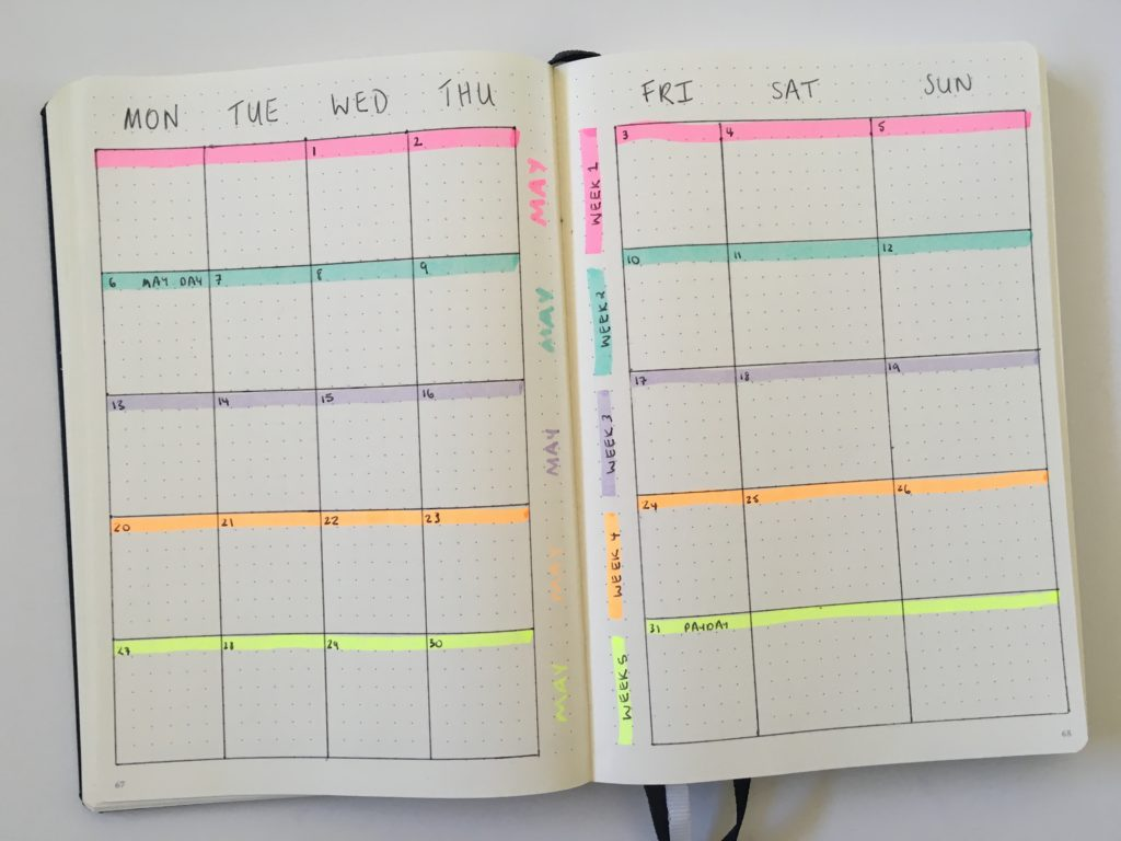 bullet journal decorating ideas color coding highlighters quick easy simple minimalist monthly calendar layout different unique spread layout