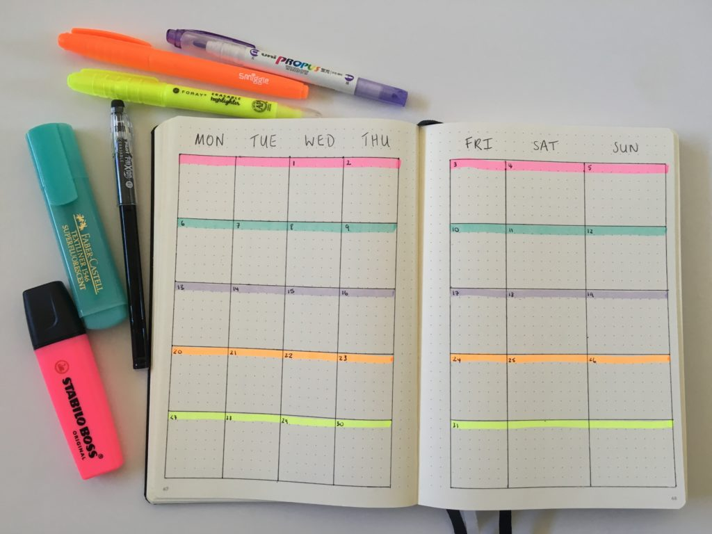 bullet journal monthly calendar highlighter color coding by week tips best no ghosting leuchtturm 1917 notebook review