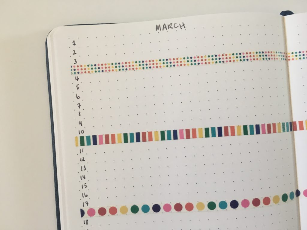 bullet journal monthly planning colorful quick simple easy use washi tape in your bujo ideas by week