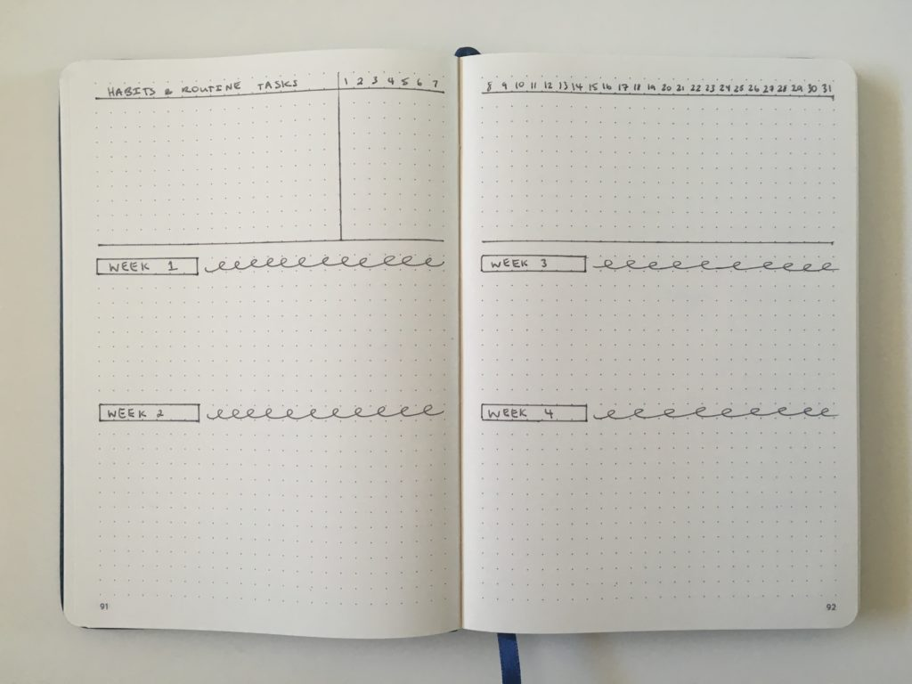 bullet journal monthly planning spread simple quick 5 minutes or less tips ideas layout inspiration weekly no dates minimalist