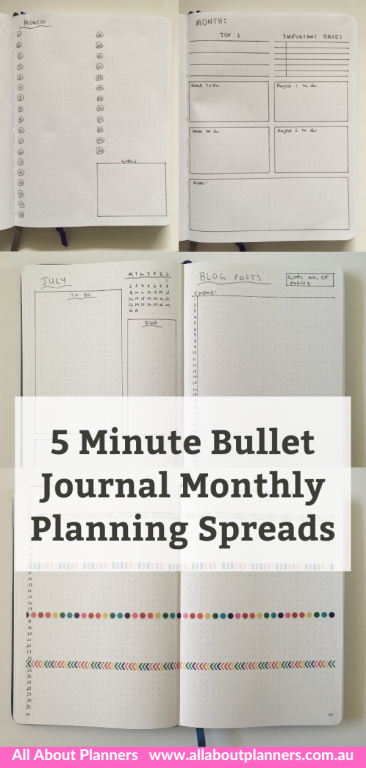bullet journal monthly planning spreads layout ideas inspiration quick setup in 5 minutes or less all about planners simple easy bujo newbie minimalist