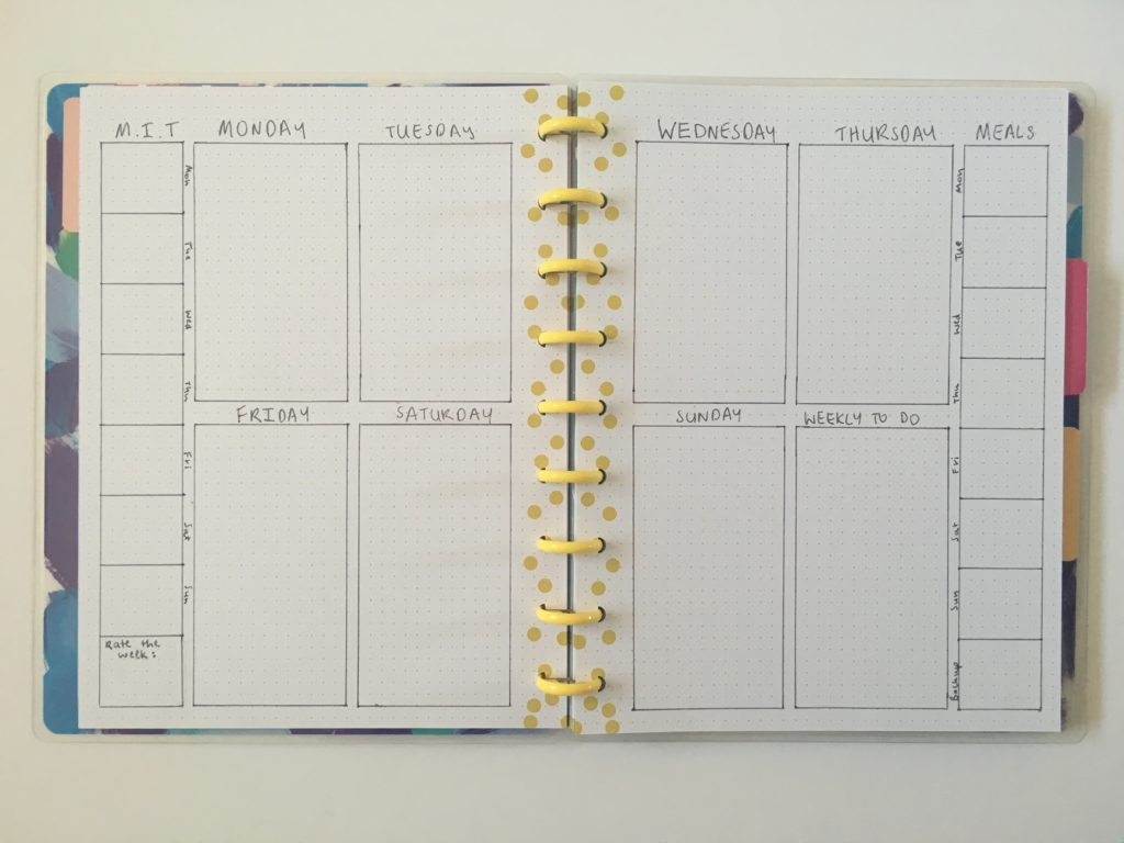 bullet journal page layout weekly spread 2 pages happy notes minimalist simple quick work personal keep everything in 1 planner instead of 2