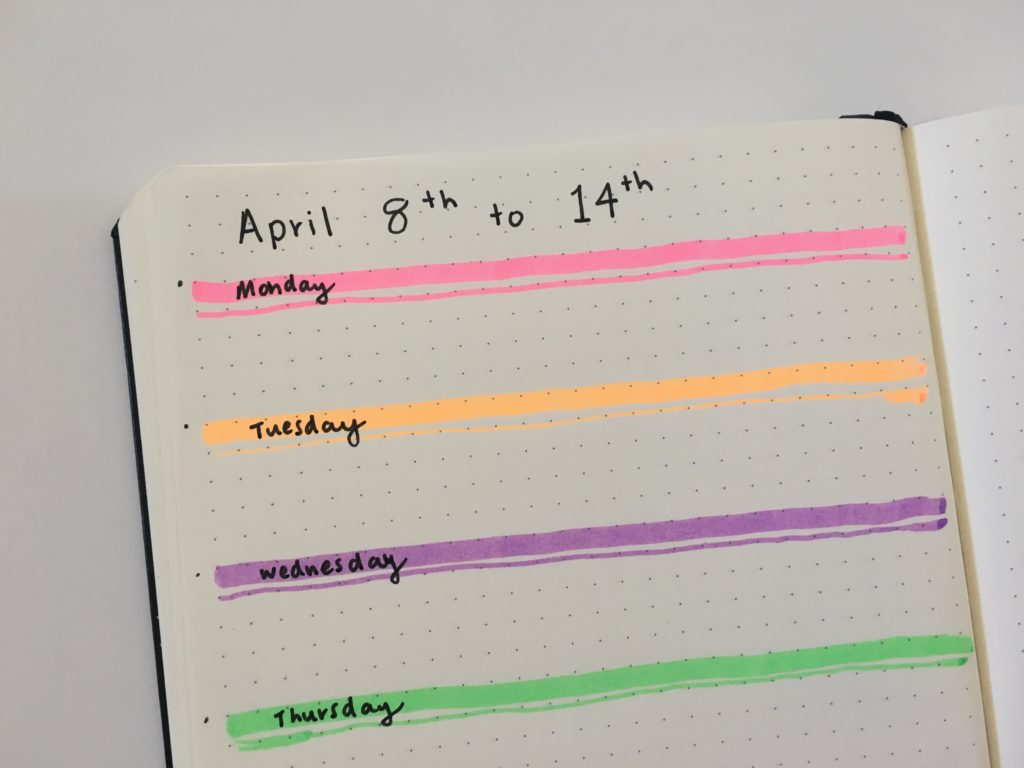 bullet journal weekly spread highlighters favorite planning supplies tools bujo simple quick neon fluro smiggle horizontal 1 page