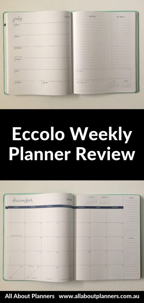 eccolo weekly planner review pros and cons video horizontal lined notes lay flat binding pen test ghosting bleed through