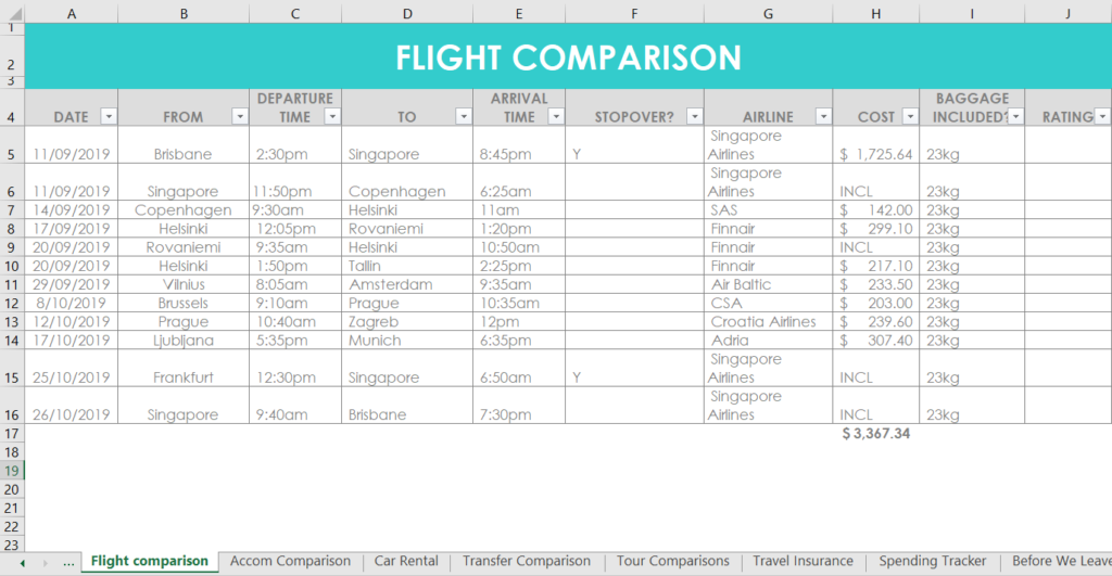 flight comparison travel planner organizer template excel research trip planning vacation