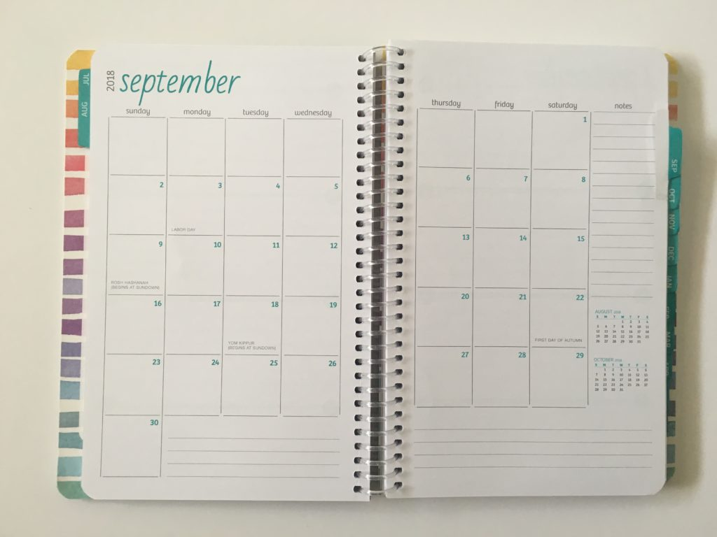 global printed products monthly calendar planner review sunday start