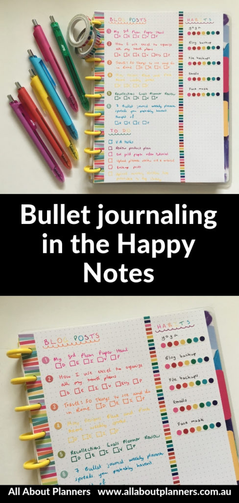 happy notes book pros and cons video review colorful washi tape pens rainbow cheap affordable bullet journal ideas blog planning