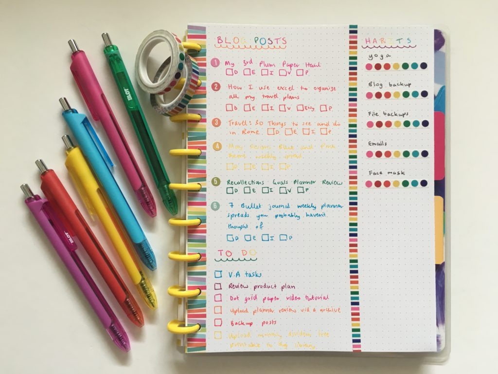 happy notes weekly spread blot pens park lane paperie rainbow washi tape discbound bullet journal notebook rainbow ideas