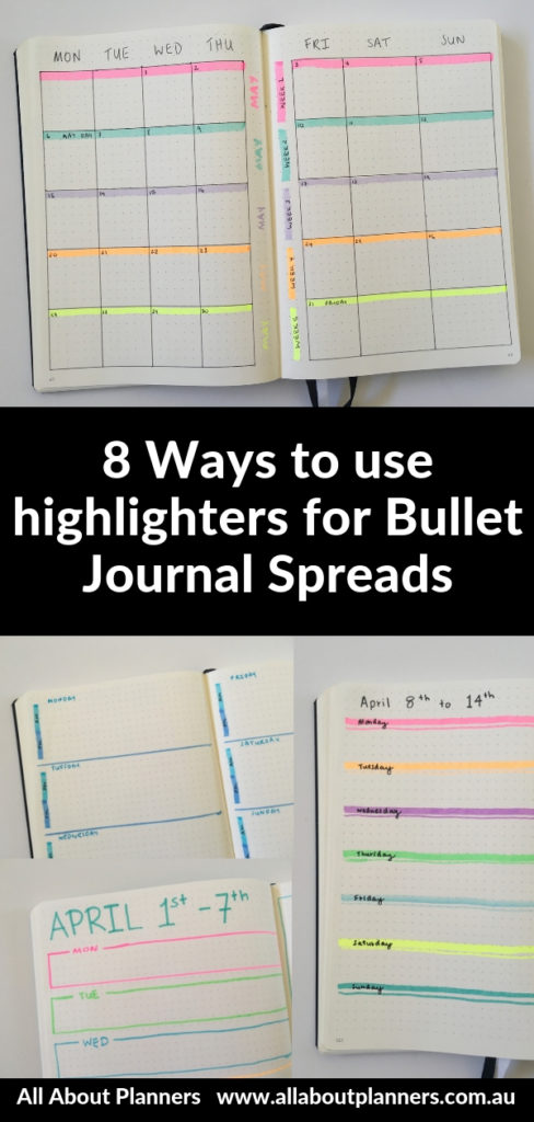 highlighter bullet journal weekly spreads inspiration tips ideas quick easy way to add color monthly favorite bujo layouts
